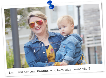 Emili and son with hemophilia b