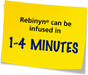 Sticky note: Rebinyn® can be infused in 1-4 minutes