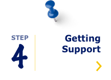 Navigation icon: Step 4 Getting Support