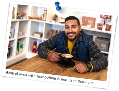 Abdiel lives with hemophilia B and uses Rebinyn