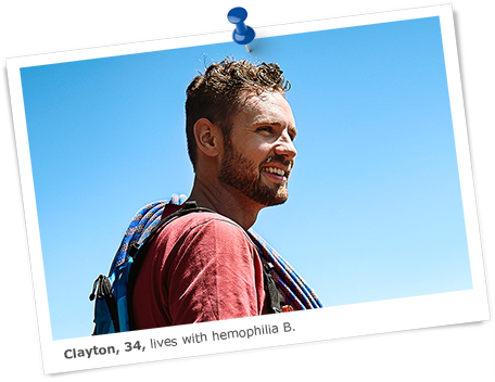 Image of Clayton, who lives with hemophilia B, against a blue sky