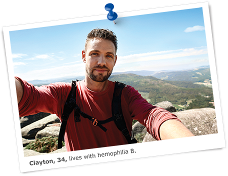 Clayton lives with hemophilia B and is hiking