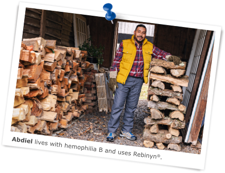 Abdiel lives with hemophilia B and uses Rebinyn®