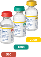 3 different Rebinyn® vials with peel-off labels